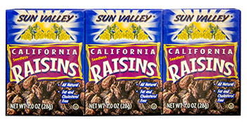 California Seedless Raisins <br>1 oz box 6 pack