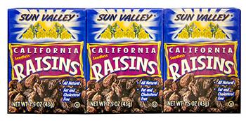 California Seedless Raisins<br> 1.5 oz box 6 pack