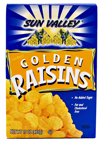 Seedless Golden Raisins </br>NETWT 15OZ (425g)