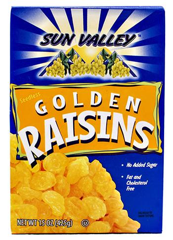 Seedless Golden Raisins </br>NETWT 15OZ (425g)