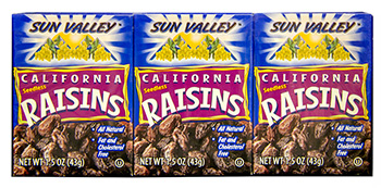 California Seedless Raisins<br> 1.5 oz box 6 pack